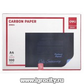 Бумага копировальная синяя А4, папка 100 листов, Deli, арт. 1272986