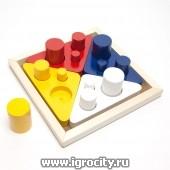 Цветные цилиндры втыкалки, по методике Монтессори, RNToys, арт.Д-432