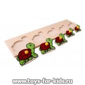 """Деревянный пазл """"Черепахи"""" ЛЭМ (размер рамки - 37 на 10 см.), арт. 1019"""