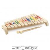 Игрушка музыкальная Ксилофон дерево(12 тонов + 2 палочки), арт. Д 046